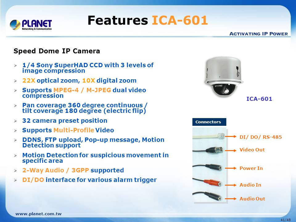 www.planet.com.tw 41/48 Features ICA-601 Speed Dome IP Camera  1/4 Sony SuperHAD CCD with 3 levels of image compression  22X optical zoom, 10X digit