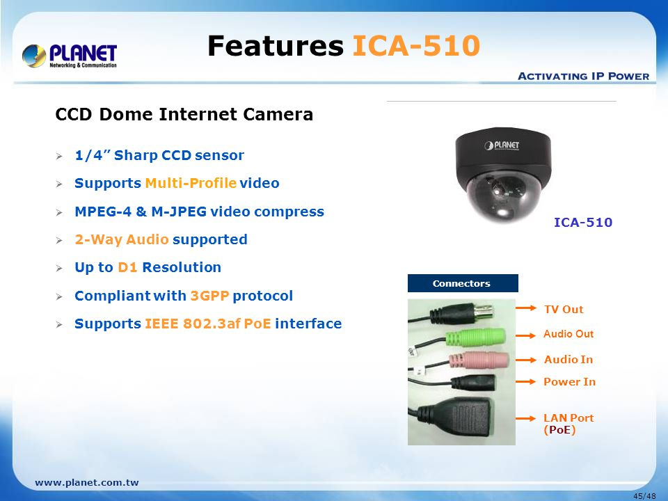 "www.planet.com.tw 45/48 Connectors LAN Port (PoE) Audio Out TV Out Audio In Power In CCD Dome Internet Camera  1/4"" Sharp CCD sensor  Supports Multi"