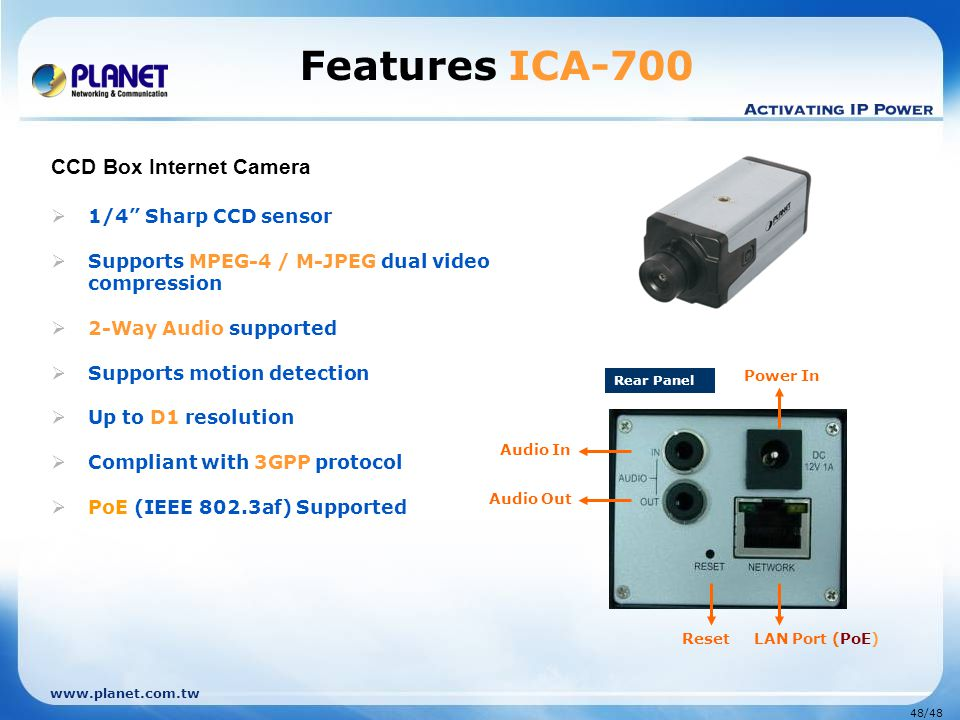 "www.planet.com.tw 48/48 Features ICA-700 CCD Box Internet Camera  1/4"" Sharp CCD sensor  Supports MPEG-4 / M-JPEG dual video compression  2-Way Aud"