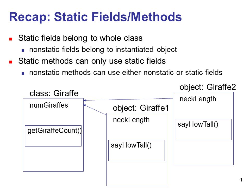4 Recap: Static Fields/Methods n Static fields belong to whole class n nonstatic fields belong to instantiated object n Static methods can only use static fields n nonstatic methods can use either nonstatic or static fields class: Giraffe getGiraffeCount() numGiraffes object: Giraffe1 sayHowTall() neckLength object: Giraffe2 sayHowTall() neckLength