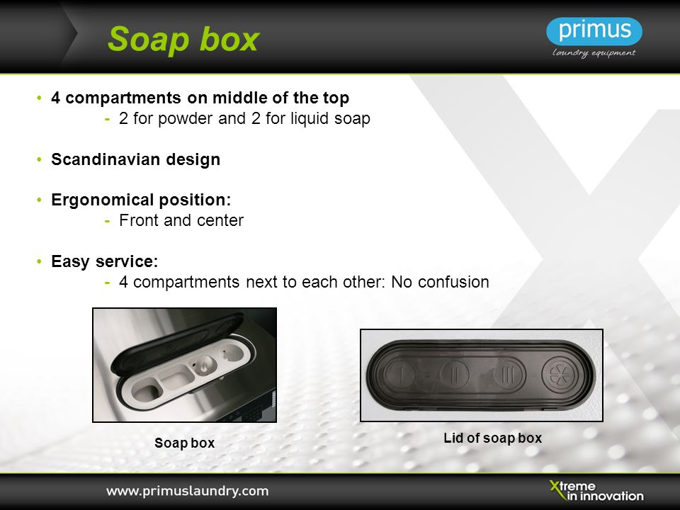 Soap box 4 compartments on middle of the top - 2 for powder and 2 for liquid soap Scandinavian design Ergonomical position: - Front and center Easy service: - 4 compartments next to each other: No confusion Soap box Lid of soap box