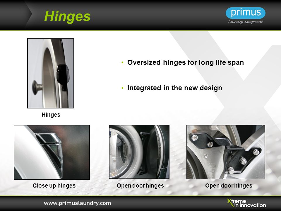 Hinges Oversized hinges for long life span Integrated in the new design Open door hinges Hinges Close up hinges