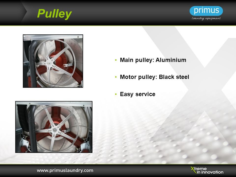 Pulley Main pulley: Aluminium Motor pulley: Black steel Easy service