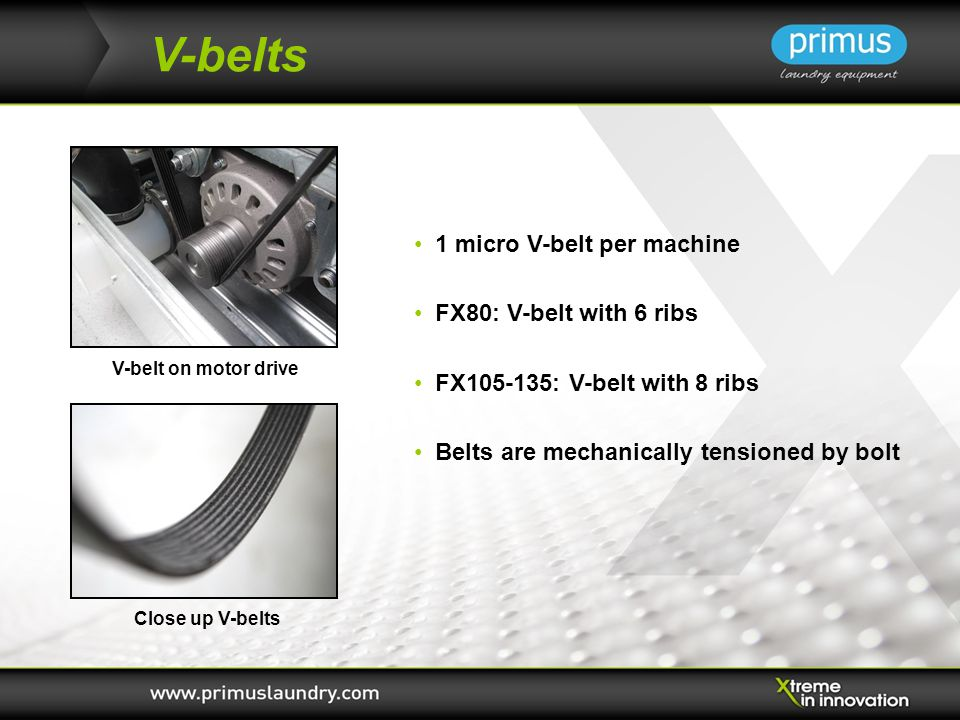 V-belts 1 micro V-belt per machine FX80: V-belt with 6 ribs FX105-135: V-belt with 8 ribs Belts are mechanically tensioned by bolt Close up V-belts V-belt on motor drive