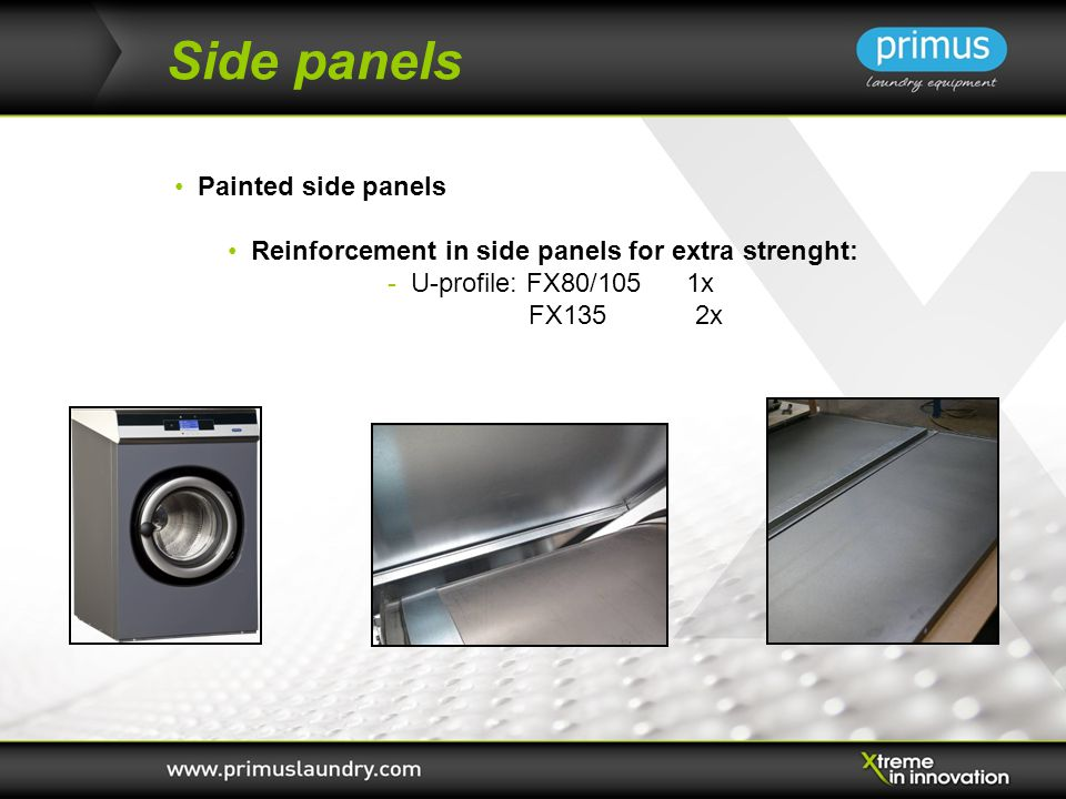 Side panels Painted side panels Reinforcement in side panels for extra strenght: - U-profile: FX80/105 1x FX135 2x
