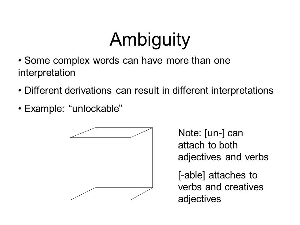 """Ambiguity Some complex words can have more than one interpretation Different derivations can result in different interpretations Example: """"unlockable"""""""