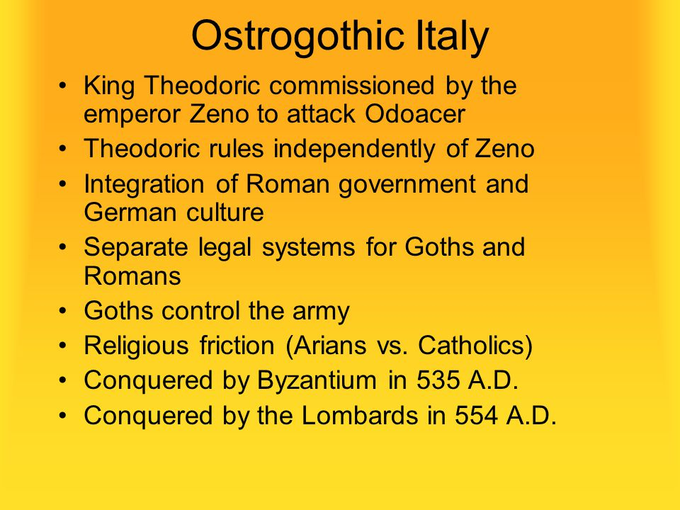 The Ostrogoths Subjects of the Huns until 453 A.D. Allies of the Eastern Roman Empire after the death of Attila