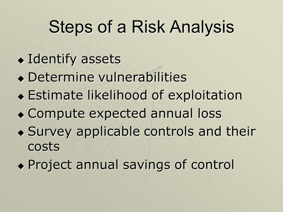 Steps of a Risk Analysis  Identify assets  Determine vulnerabilities  Estimate likelihood of exploitation  Compute expected annual loss  Survey applicable controls and their costs  Project annual savings of control