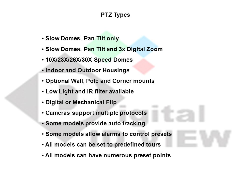 Slow Domes, Pan Tilt only Slow Domes, Pan Tilt and 3x Digital Zoom 10X/23X/26X/30X Speed Domes Indoor and Outdoor Housings Optional Wall, Pole and Cor