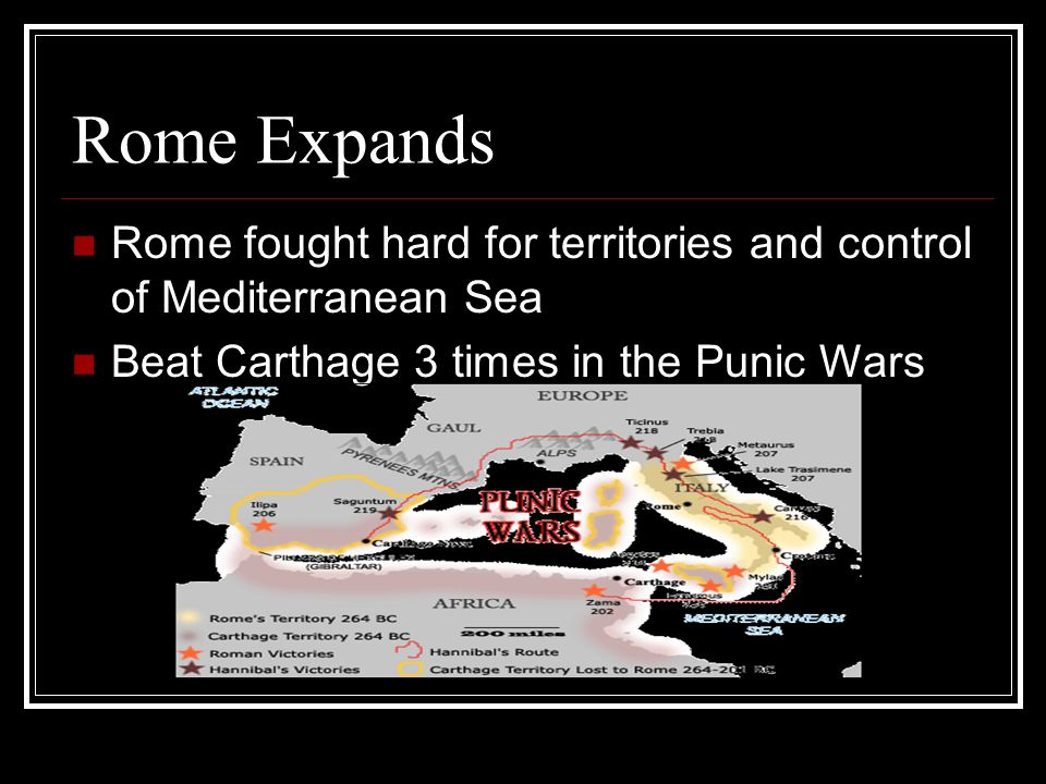 Rome Expands Rome fought hard for territories and control of Mediterranean Sea Beat Carthage 3 times in the Punic Wars