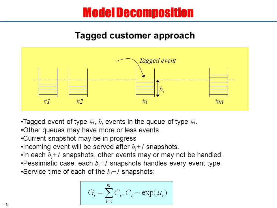 16 Model Decomposition Tagged customer approach Tagged event of type #i, b i events in the queue of type #i.