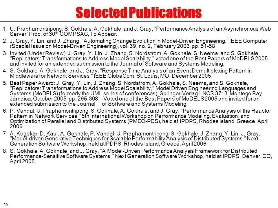 30 Selected Publications 1.U. Praphamontripong, S.