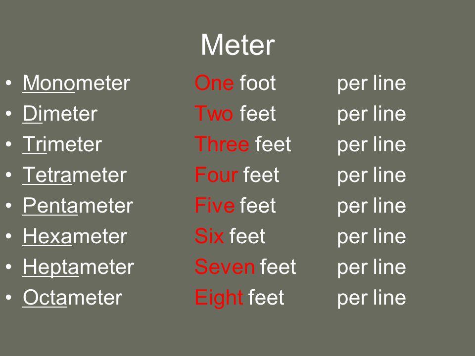 Meter MonometerOne footper line DimeterTwo feetper line TrimeterThree feetper line TetrameterFour feetper line PentameterFive feetper line HexameterSix feetper line HeptameterSeven feetper line OctameterEight feetper line
