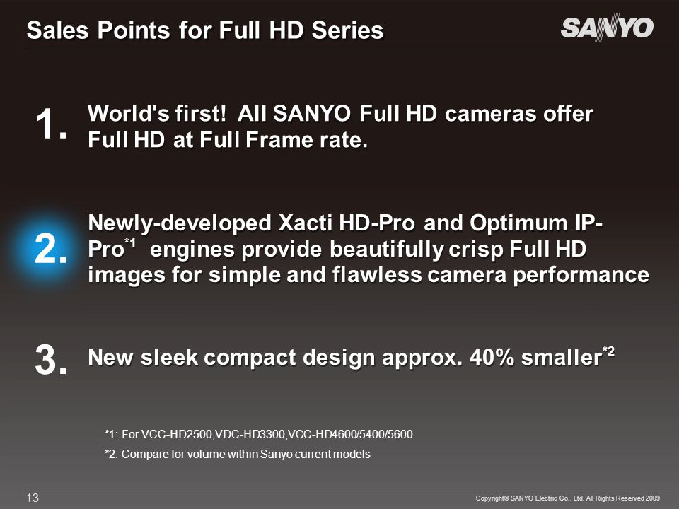 Copyright© SANYO Electric Co., Ltd. All Rights Reserved 2009 13 *1: For VCC-HD2500,VDC-HD3300,VCC-HD4600/5400/5600 *2: Compare for volume within Sanyo
