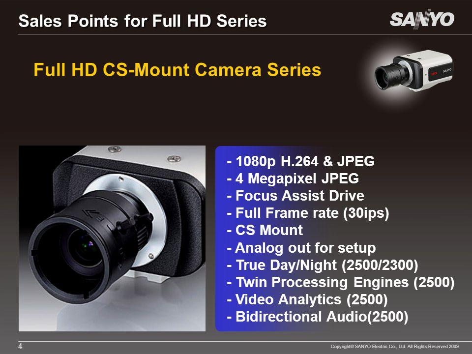 Copyright© SANYO Electric Co., Ltd. All Rights Reserved 2009 4 Full HD CS-Mount Camera Series - 1080p H.264 & JPEG - 4 Megapixel JPEG - Focus Assist D