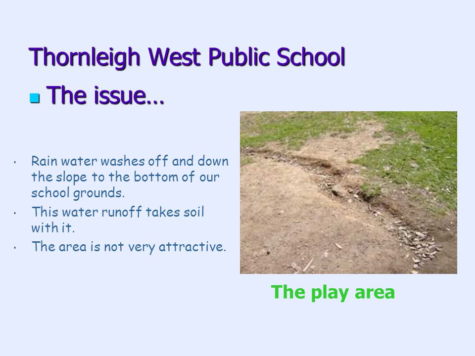 Thornleigh West Public School The issue… The issue… Rain water washes off and down the slope to the bottom of our school grounds.