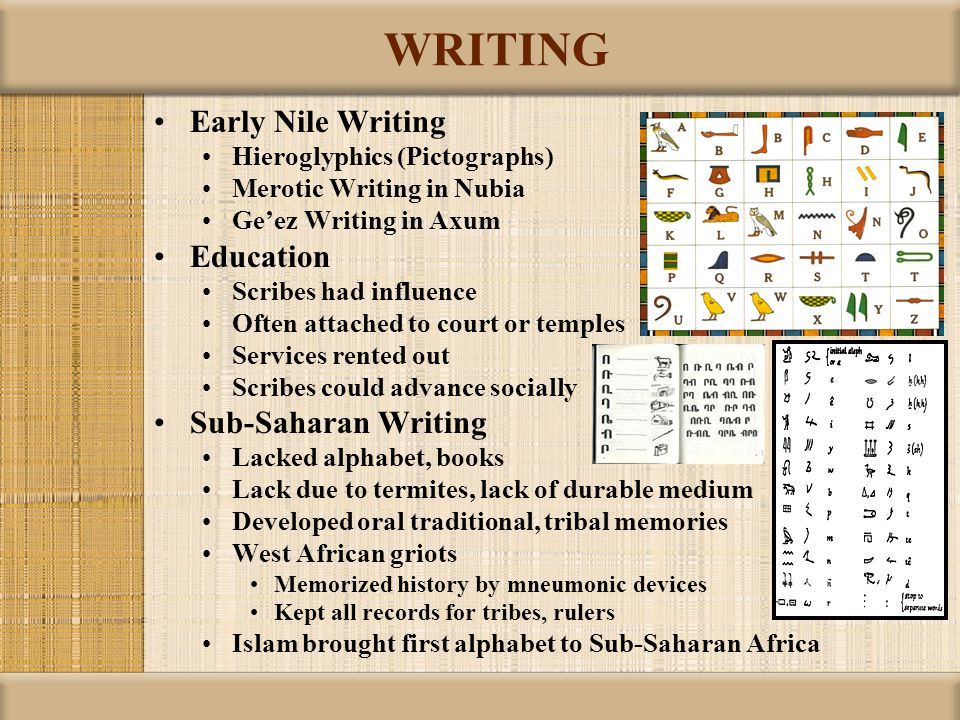 WRITING Early Nile Writing Hieroglyphics (Pictographs) Merotic Writing in Nubia Ge'ez Writing in Axum Education Scribes had influence Often attached t