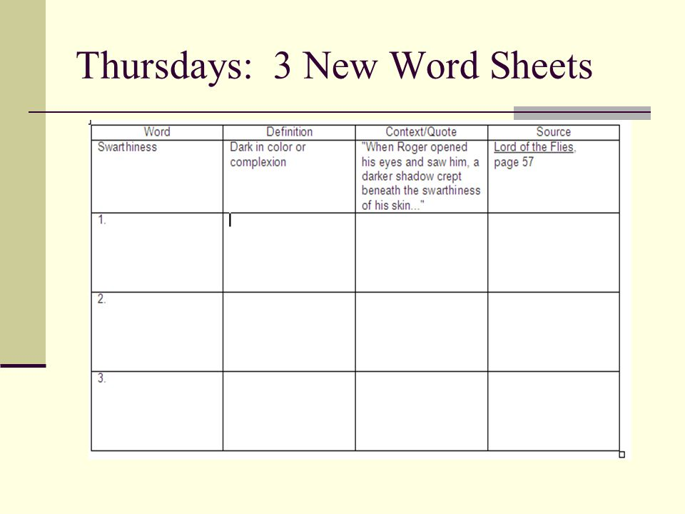 Thursdays: 3 New Word Sheets