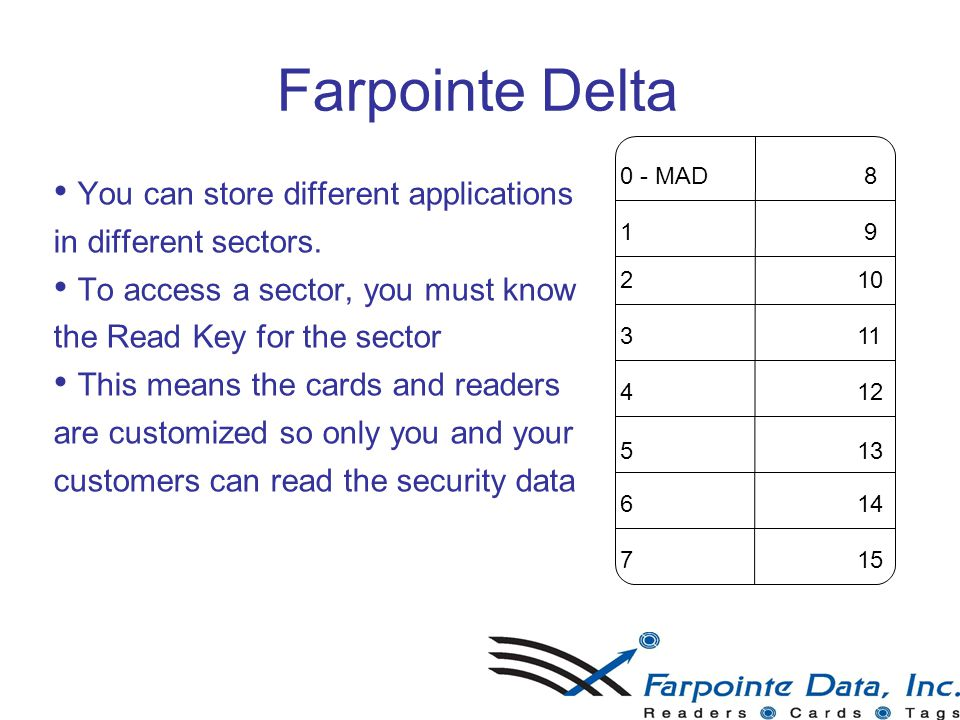 23 Farpointe Delta You can store different applications in different sectors.