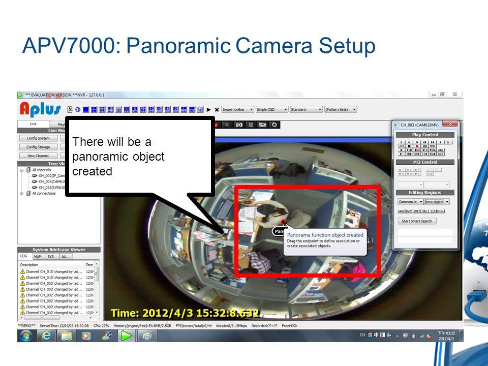 APV7000: Panoramic Camera Setup Drag the red dot to call the definition menu Select Image Circle