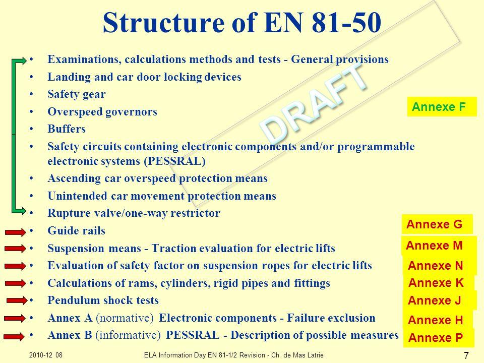 Structure of EN 81-50 2010-12 08ELA Information Day EN 81-1/2 Revision - Ch. de Mas Latrie 7 Examinations, calculations methods and tests - General pr