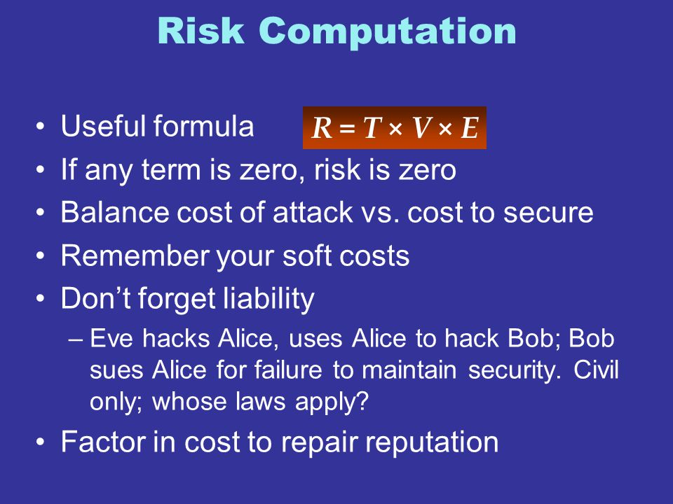 Risk Computation Useful formula If any term is zero, risk is zero Balance cost of attack vs. cost to secure Remember your soft costs Don't forget liab