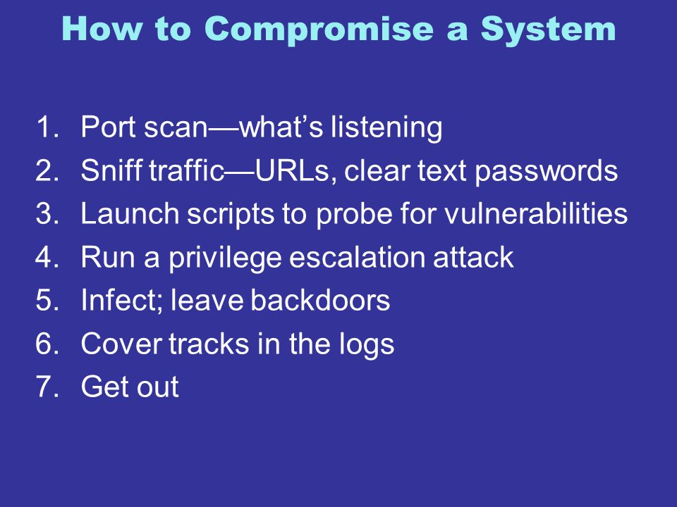 How to Compromise a System 1.Port scan—what's listening 2.Sniff traffic—URLs, clear text passwords 3.Launch scripts to probe for vulnerabilities 4.Run