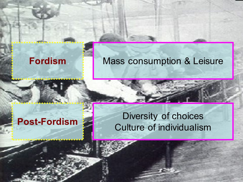 Fordism Post-Fordism Mass consumption & Leisure Diversity of choices Culture of individualism