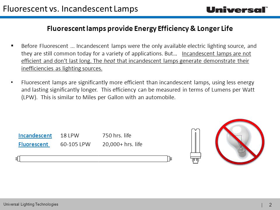 | 2 Universal Lighting Technologies Fluorescent vs.