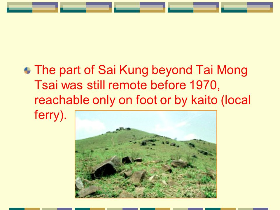 Sai Kung Country Park Most of the land surface of Sai Kung Peninsula, except the village areas, is incorporated into two country parks, Sai Kung East and Sai Kung West (including Wan Tsai Extension), with a total area of 7,600 hectares.