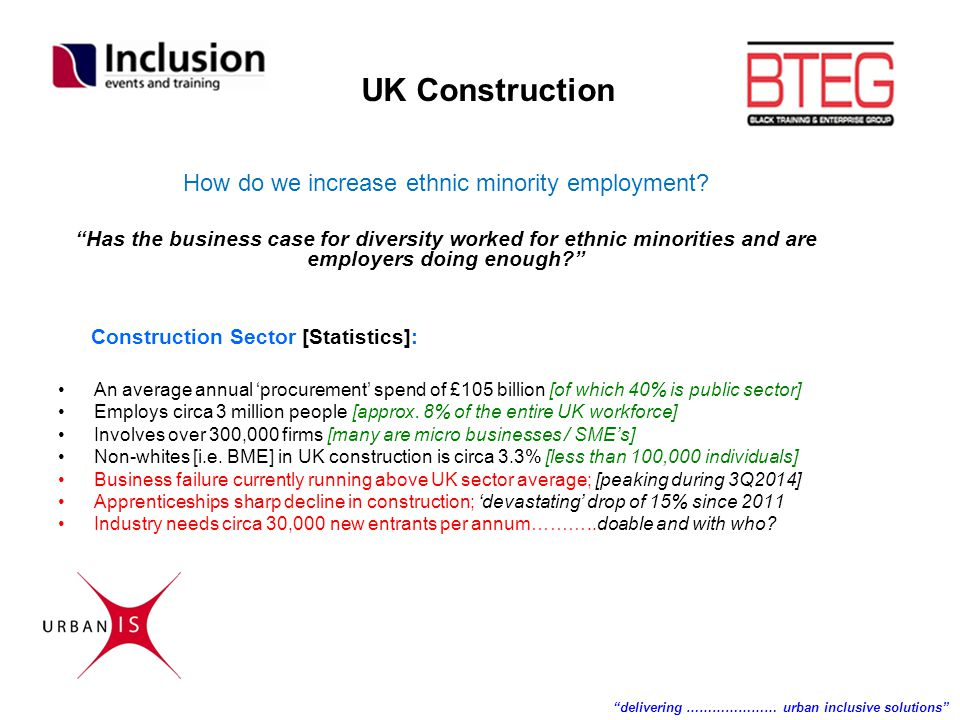 "How do we increase ethnic minority employment? ""Has the business case for diversity worked for ethnic minorities and are employers doing enough?"" Cons"