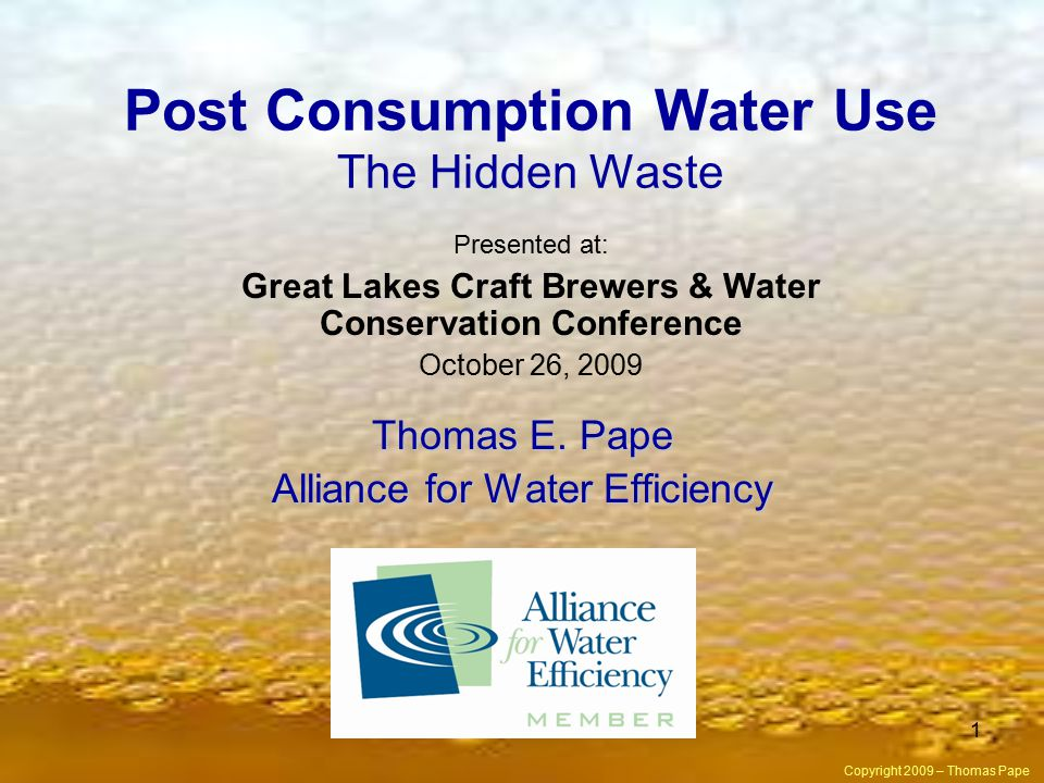 1 Post Consumption Water Use The Hidden Waste Thomas E.