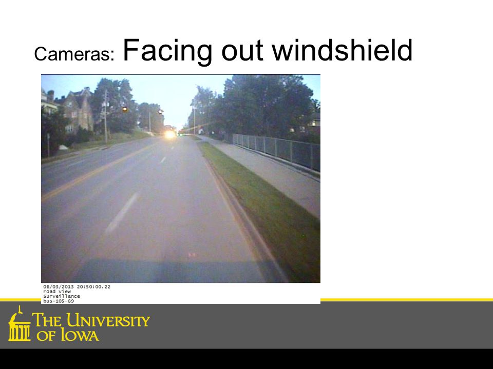 Cameras: Facing out windshield