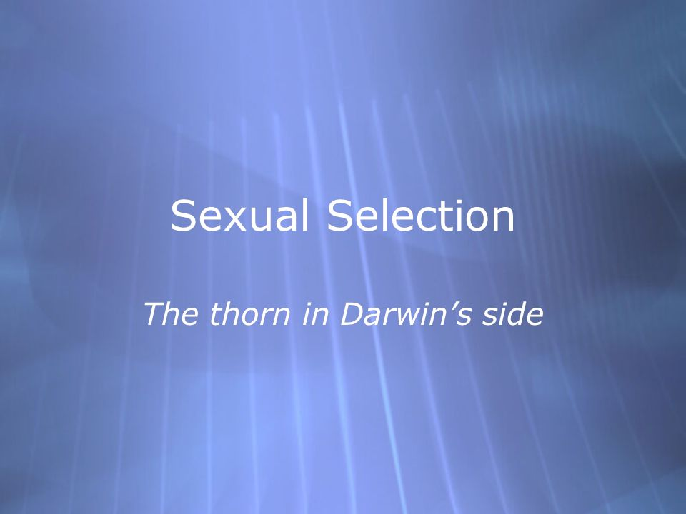 Sexual Selection The thorn in Darwin's side