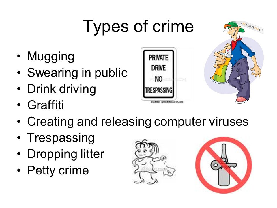 Types of punishment traffic ticket – speeding, parking license suspension - drunk driving fine house arrest - a young offender who is waiting to go to court community service - a youth that steals a car for the first time jail time life in prison – no chance of returning back to society
