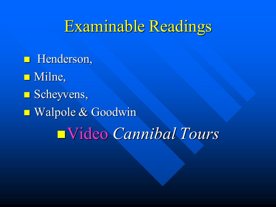 Examinable Readings Henderson, Henderson, Milne, Milne, Scheyvens, Scheyvens, Walpole & Goodwin Walpole & Goodwin Video Cannibal Tours Video Cannibal
