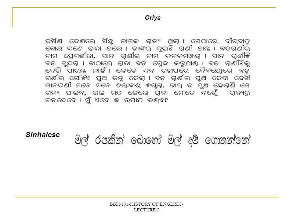 BBI 3101-HISTORY OF ENGLISH - LECTURE 2 Oriya Sinhalese