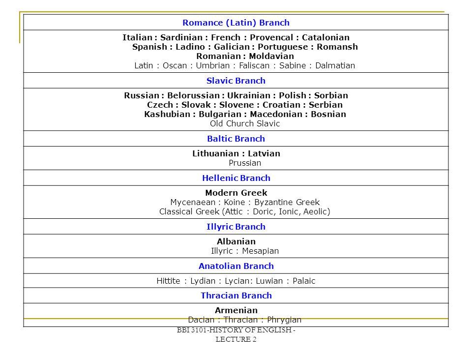 BBI 3101-HISTORY OF ENGLISH - LECTURE 2 Romance (Latin) Branch Italian : Sardinian : French : Provencal : Catalonian Spanish : Ladino : Galician : Por