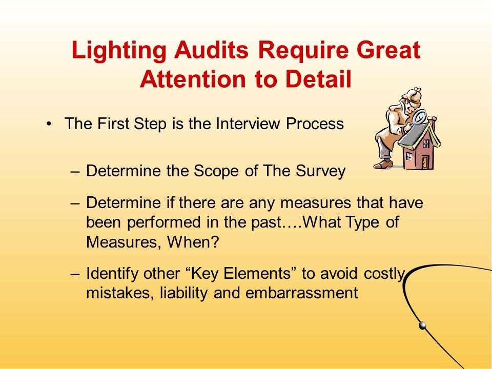 Five Major Elements There are Five Key Elements To A Successful Lighting Audit –Site & Building Information –Room & Usage Information –Luminaire Information –Controls / Switching Information –Problem Areas / Miscellaneous