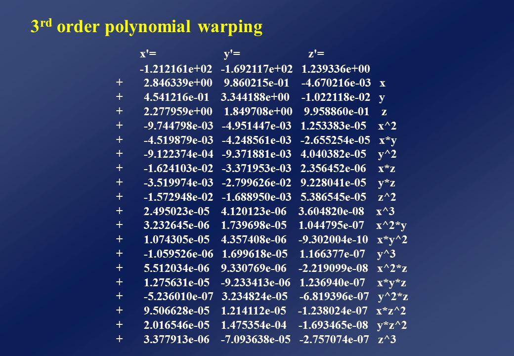 x = y = z = -1.212161e+02 -1.692117e+02 1.239336e+00 + 2.846339e+00 9.860215e-01 -4.670216e-03 x + 4.541216e-01 3.344188e+00 -1.022118e-02 y + 2.277959e+00 1.849708e+00 9.958860e-01 z + -9.744798e-03 -4.951447e-03 1.253383e-05 x^2 + -4.519879e-03 -4.248561e-03 -2.655254e-05 x*y + -9.122374e-04 -9.371881e-03 4.040382e-05 y^2 + -1.624103e-02 -3.371953e-03 2.356452e-06 x*z + -3.519974e-03 -2.799626e-02 9.228041e-05 y*z + -1.572948e-02 -1.688950e-03 5.386545e-05 z^2 + 2.495023e-05 4.120123e-06 3.604820e-08 x^3 + 3.232645e-06 1.739698e-05 1.044795e-07 x^2*y + 1.074305e-05 4.357408e-06 -9.302004e-10 x*y^2 + -1.059526e-06 1.699618e-05 1.166377e-07 y^3 + 5.512034e-06 9.330769e-06 -2.219099e-08 x^2*z + 1.275631e-05 -9.233413e-06 1.236940e-07 x*y*z + -5.236010e-07 3.234824e-05 -6.819396e-07 y^2*z + 9.506628e-05 1.214112e-05 -1.238024e-07 x*z^2 + 2.016546e-05 1.475354e-04 -1.693465e-08 y*z^2 + 3.377913e-06 -7.093638e-05 -2.757074e-07 z^3 3 rd order polynomial warping