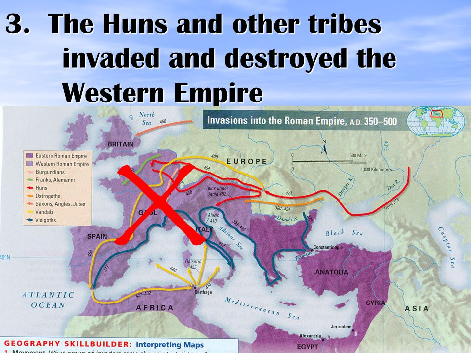 3. The Huns and other tribes invaded and destroyed the Western Empire