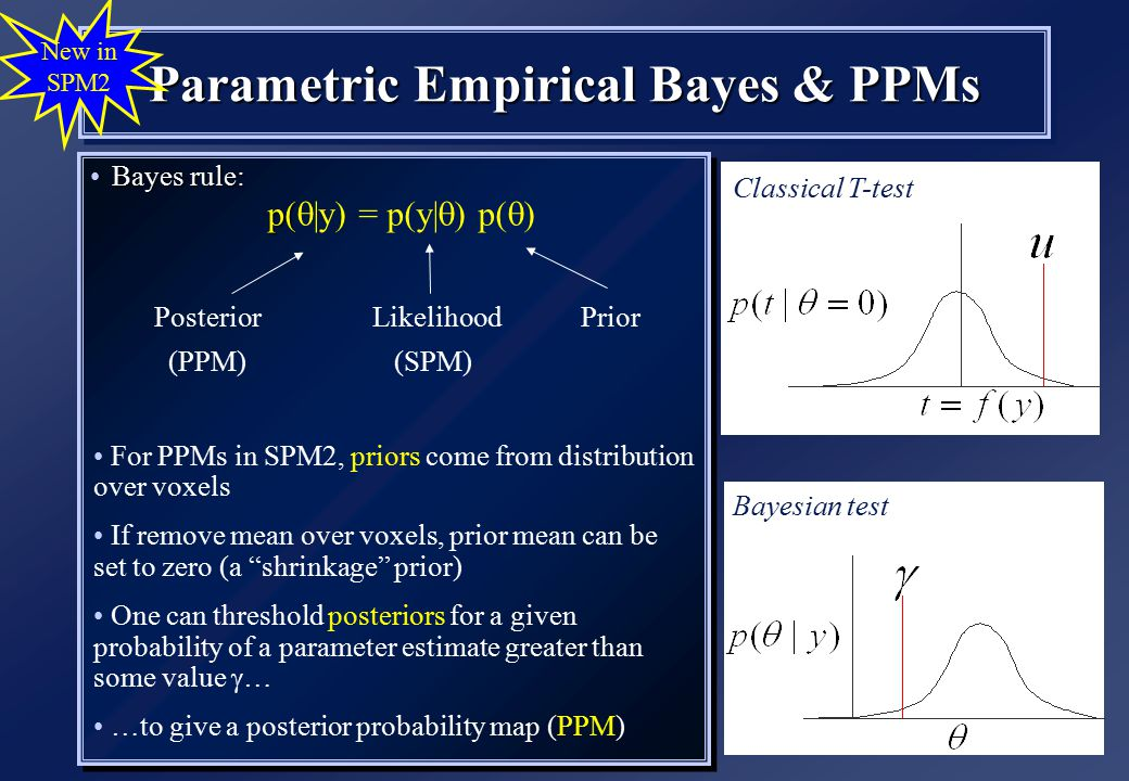 Parametric Empirical Bayes & PPMs Bayes rule:Bayes rule: p( p(  |y) = p(y|  ) p(  ) Bayes rule:Bayes rule: p( p(  |y) = p(y|  ) p(  ) New in SPM2 Posterior Likelihood Prior (PPM) (SPM) Classical T-test Bayesian test For PPMs in SPM2, priors come from distribution over voxels If remove mean over voxels, prior mean can be set to zero (a shrinkage prior) One can threshold posteriors for a given probability of a parameter estimate greater than some value  … …to give a posterior probability map (PPM)