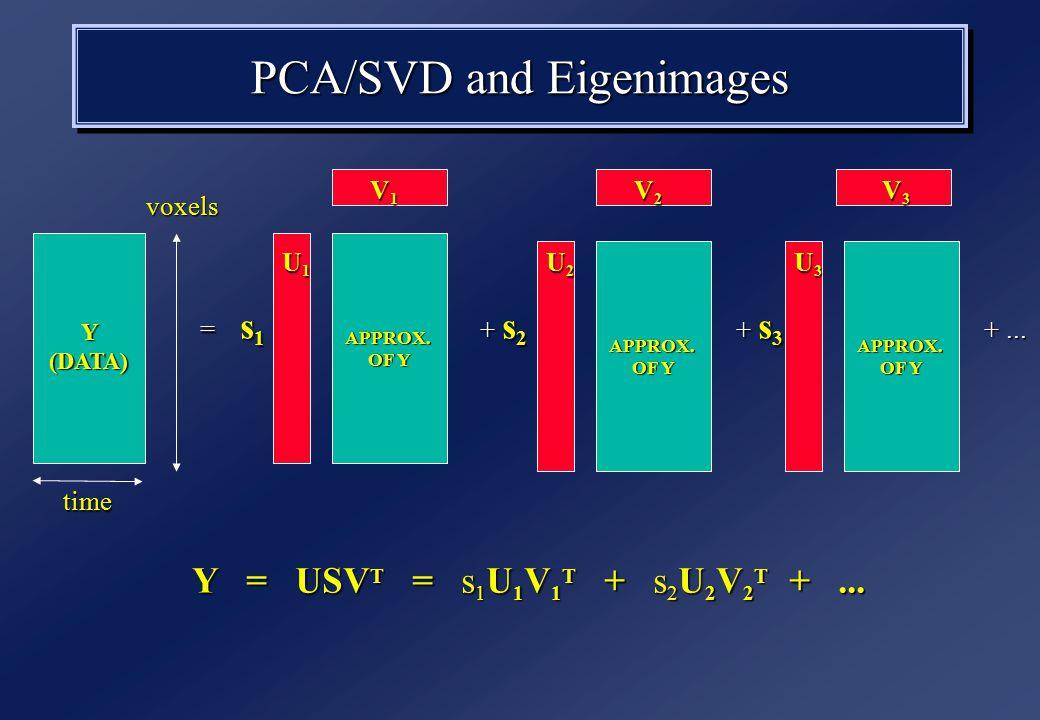 PCA/SVD and Eigenimages Y (DATA) time voxels Y = USV T = s 1 U 1 V 1 T + s 2 U 2 V 2 T +...