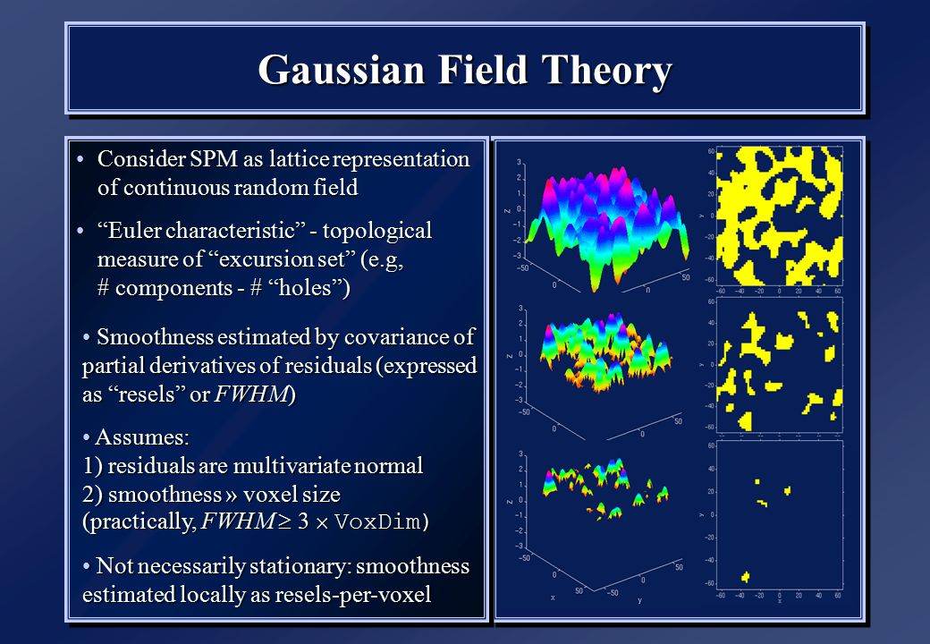 Gaussian Field Theory Consider SPM as lattice representation of continuous random fieldConsider SPM as lattice representation of continuous random field Euler characteristic - topological measure of excursion set (e.g, # components - # holes ) Euler characteristic - topological measure of excursion set (e.g, # components - # holes ) Consider SPM as lattice representation of continuous random fieldConsider SPM as lattice representation of continuous random field Euler characteristic - topological measure of excursion set (e.g, # components - # holes ) Euler characteristic - topological measure of excursion set (e.g, # components - # holes ) Smoothness estimated by covariance of partial derivatives of residuals (expressed as resels or FWHM) Smoothness estimated by covariance of partial derivatives of residuals (expressed as resels or FWHM) Assumes: 1) residuals are multivariate normal 2) smoothness » voxel size (practically, FWHM  3  VoxDim) Assumes: 1) residuals are multivariate normal 2) smoothness » voxel size (practically, FWHM  3  VoxDim) Not necessarily stationary: smoothness estimated locally as resels-per-voxel Not necessarily stationary: smoothness estimated locally as resels-per-voxel