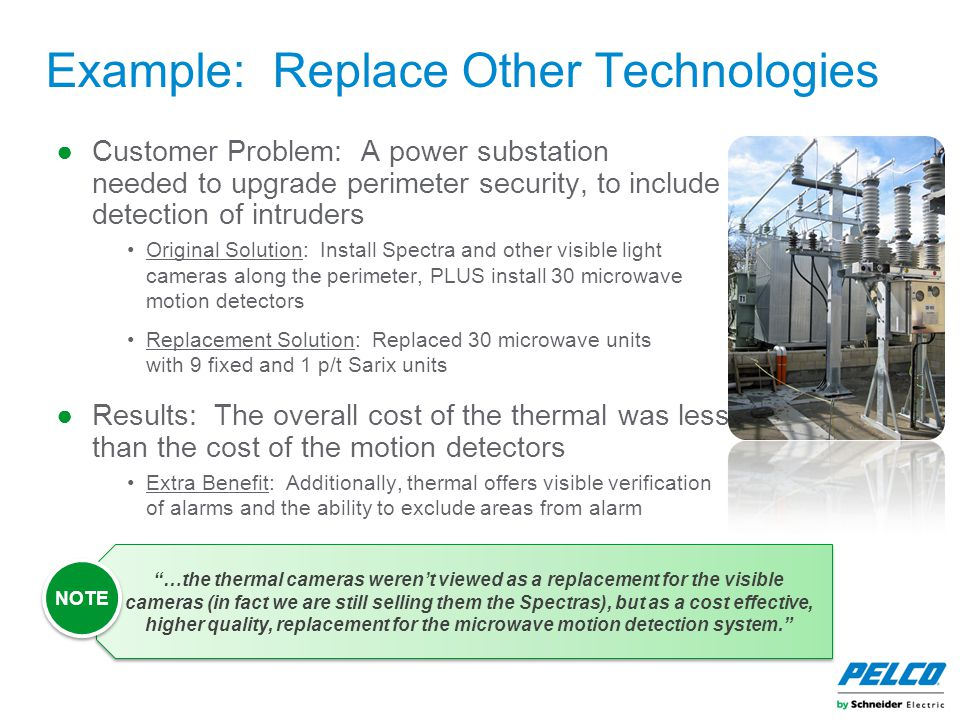 Example: Replace Other Technologies ●Customer Problem: A power substation needed to upgrade perimeter security, to include detection of intruders Orig