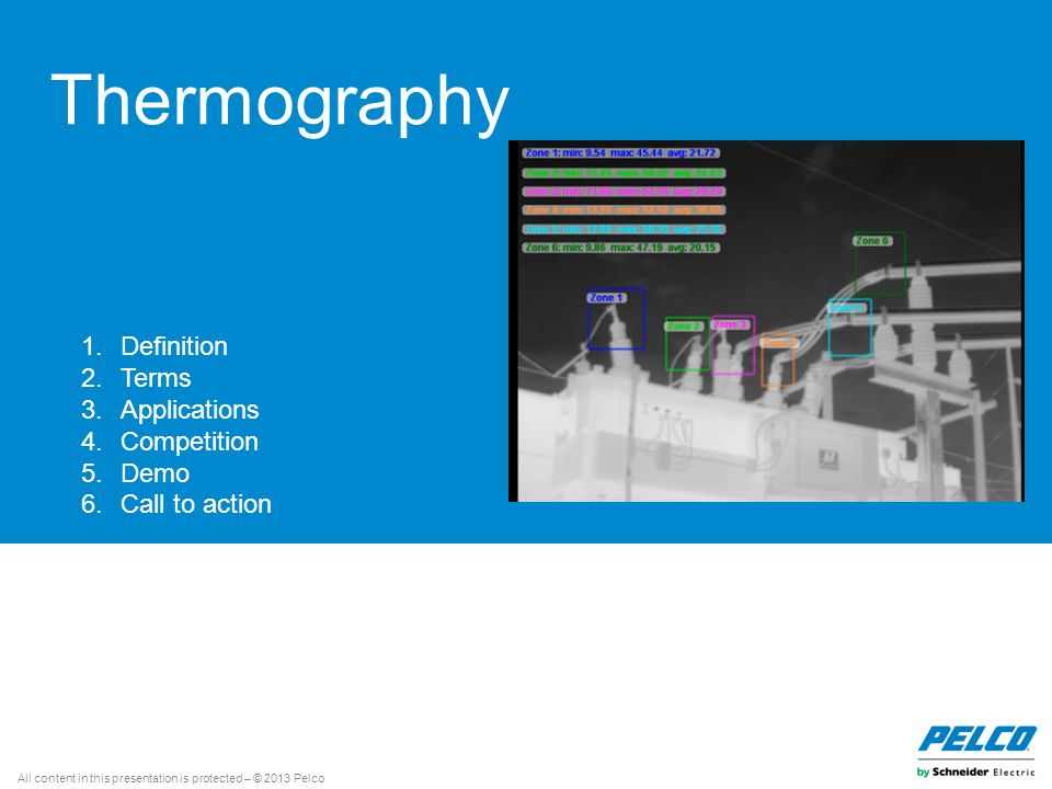 All content in this presentation is protected – © 2013 Pelco Thermography 1.Definition 2.Terms 3.Applications 4.Competition 5.Demo 6.Call to action