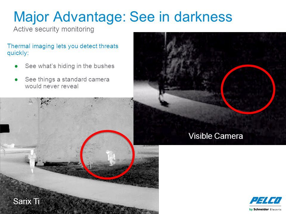Major Advantage: See in darkness Active security monitoring Thermal imaging lets you detect threats quickly: ●See what's hiding in the bushes ●See thi