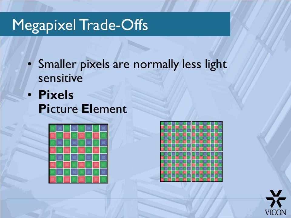 Megapixel Trade-Offs Smaller pixels are normally less light sensitive Pixels Picture Element