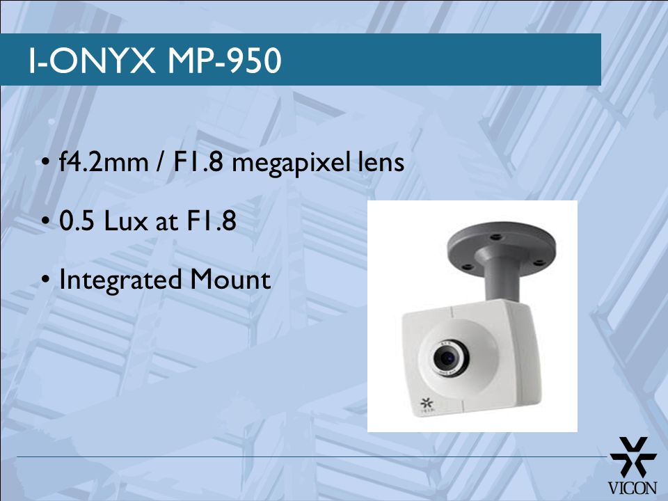 I-ONYX MP-950 f4.2mm / F1.8 megapixel lens 0.5 Lux at F1.8 Integrated Mount