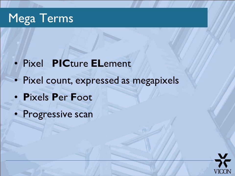 Mega Terms Pixel PICture ELement Pixel count, expressed as megapixels Pixels Per Foot Progressive scan